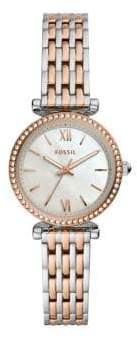 Fossil Carlie Mini Two-Tone Stainless Steel, Mother-Of-Pearl & Crystal Bracelet 3-Hand Watch