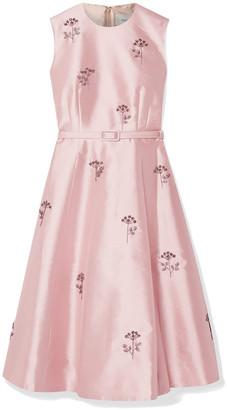 Erdem Farrah Belted Crystal-embellished Satin Dress