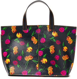 Ganni Floral-print Textured-leather Tote