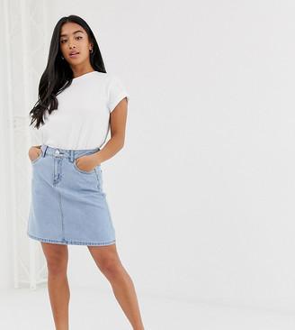 Only Petite denim a-line mini skirt