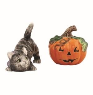 Fitz & Floyd Halloween Kitty Salt Pepper Cat and Pumpkin Shaker