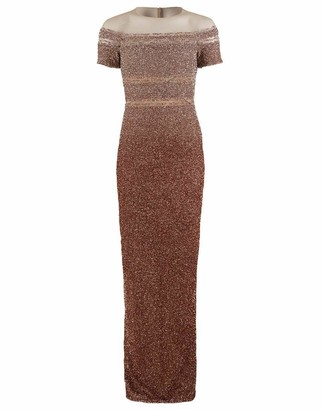 Pamella Roland Copper Ombre Sequin Embroidered Gown