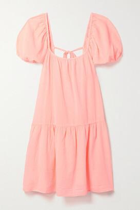 HONORINE Elodie Cotton-gauze Mini Dress - Pastel pink