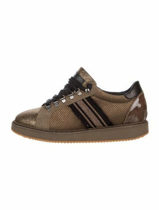 Brunello Cucinelli Leather Colorblock Pattern Sneakers Brown