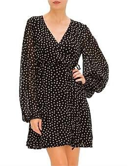 Ganni Printed Georgette Polka Dots Wrap Ls Dress