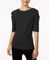 Bar III Crew-Neck Ruched-Shoulder Top, Created for Macy's