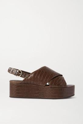 Co Croc-effect Leather Platform Slingback Sandals - Brown