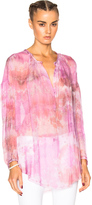 Raquel Allegra Shirred Fuchsia Tunic in Tie Dye