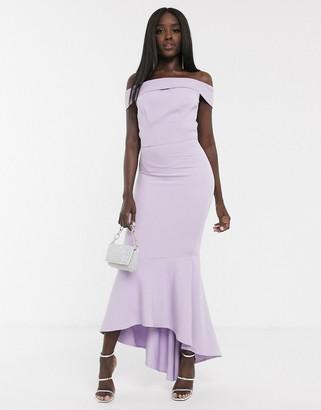 Chi Chi London Chi Chi Enrica bardot midi dress in lilac