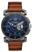 Diesel Gunmetal Tone Stainless Steel and Leather Hybrid Smartwatch