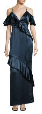 ABS by Allen Schwartz Cold-Shoulder Ruffle Gown