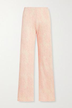 Leset Jamie Leopard-print Ribbed Stretch-modal Wide-leg Pants - Blush