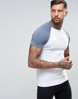 Asos Muscle T-Shirt With Contrast Raglan Sleeves In White/Blue