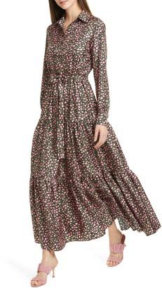 La DoubleJ LaDouble J Bellini Floral Print Silk Twill Long Sleeve Maxi Shirtdress