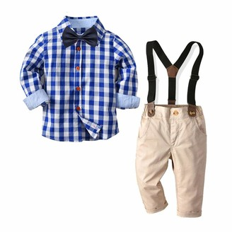 Geagodelia Kid Infant Baby boy Clothes Gentleman Outfit Long Sleeve Plaid Shirt top Suspender Trousers Formal Suit