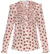 Oscar de la Renta Ruffle-trimmed carnation-print silk blouse