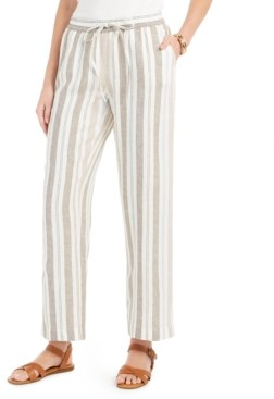 Charter Club Striped Linen Pants, Created for Macy's