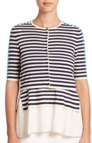 Akris Punto Striped Cropped Cardigan