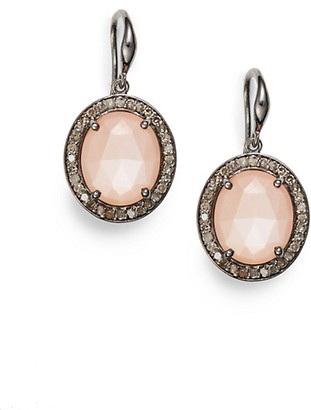 Bavna Diamond, Peach Moonstone & Sterling Silver Earrings