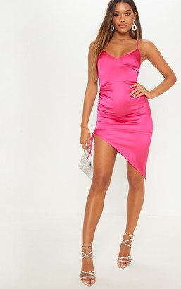 Pure Hot Pink Satin Ruched Lace Up Back Midi Dress