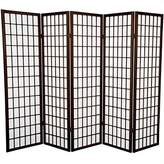 Oriental Furniture OG Classic Asian Style Design, 5-Feet Japanese Wood and Washi Paper Room Divider, Brown Color
