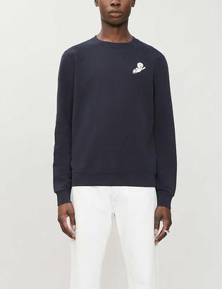 Sandro Casper-applique crewneck cotton-jersey sweatshirt
