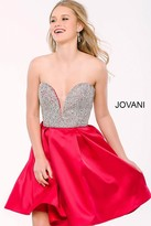 Jovani Flirty Plunging Sweetheart A-Line Cocktail Dress 24400