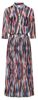Midi zigzag-printed shirt dress with pliss skirt part