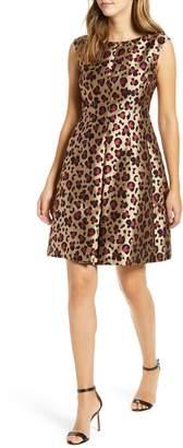 Anne Klein Animal Jacquard Fit & Flare Dress