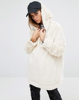 Reclaimed Vintage Oversized Fur Hoodie With Placket Detail