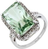 18k Sterling Silver Green Amethyst & Diamond Accent Ring
