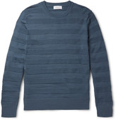Enlist - Striped Merino Wool Jacquard Sweater