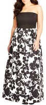 City Chic Plus Size Women's 'Painted Poppy' Strapless Maxi Dress