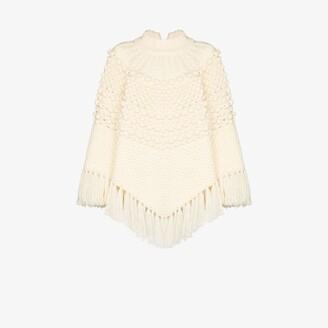Saint Laurent Cable Knit Tasseled Wool Poncho