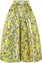 DELPOZO Metallic Floral-brocade Wide-leg Pants - Sage green