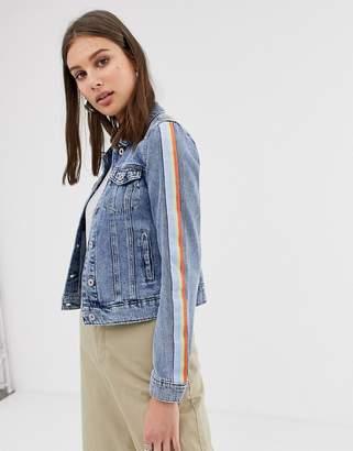 Only side tape denim jacket-Blue
