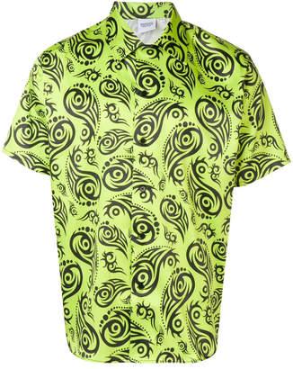 SSS World Corp lime tribal print short sleeve shirt