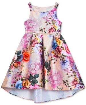 Rare Editions Little Girls Floral-Print Hi-Low Dress