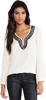 Plenty by Tracy Reese Embellished Soft Solids Peasant Blouse