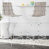 Safavieh Minerva 29.5 in. Wicker Bar Stool in White Wash