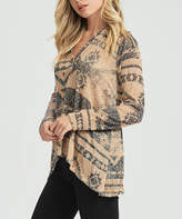 Bellino Taupe Geometric Hooded V-Neck Top