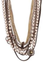 Miriam Haskell Faux Pearl & Charm Toggle Necklace
