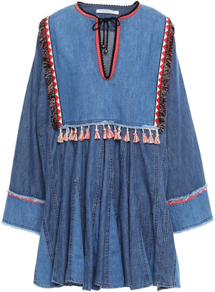 Philosophy di Lorenzo Serafini Braid And Tassel-trimmed Gathered Denim Mini Dress