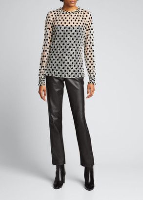 Akris Punto Ruffle Lace Floral Long-Sleeve Dotted Blouse