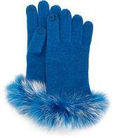 Bergdorf Goodman Cashmere Tech Gloves w/Fox Fur Cuff