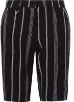 Dorothy Perkins Womens Black Striped Linen Knee Length Shorts- Black