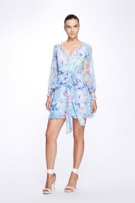 Marchesa Notte Long Sleeve V-Neck Crinkle Chiffon Tiered Mini Dress