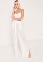 White Hammered Satin Parachute Strap Detail Trousers, Cream