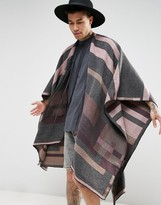 Asos Festival Cape In Geometric Colour Block