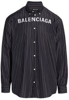 Balenciaga Logo Button-Front Striped Shirt